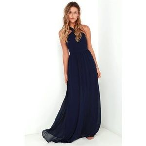 "Lulu's Dresses - Lulu's ""Air of Romance"" navy long gown dress"